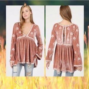 POL Large Crush Velvet Embroidered Oversized Tunic